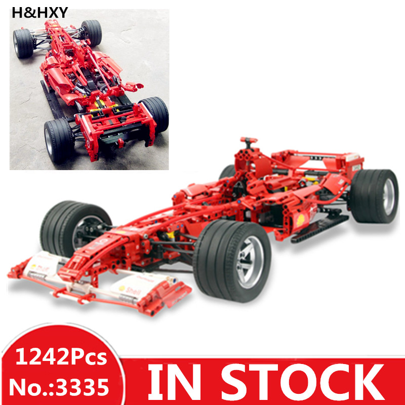 H&HXY In Stock Formula Racing Car 1:8 Model 3335 Building Blocks Sets 1242pcs Educational DIY Bricks toys for DIY Children Gift цена
