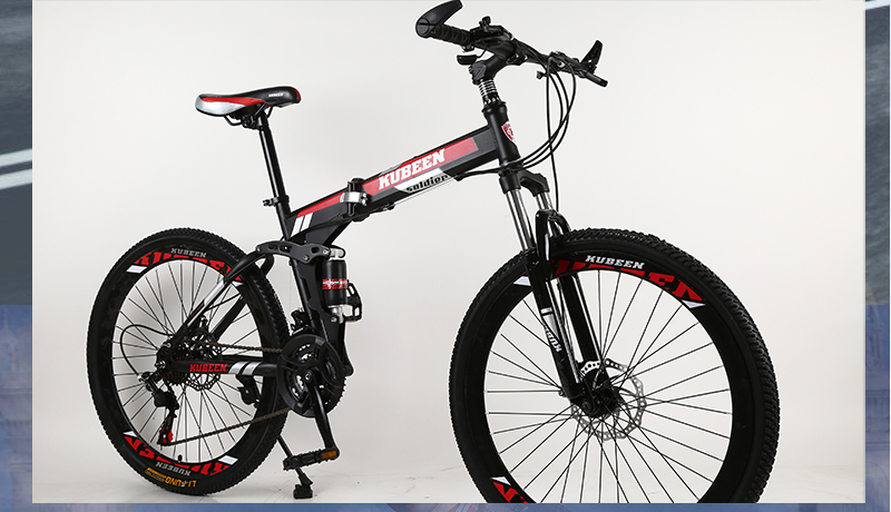 HTB1Fpe9cb1YBuNjSszhq6AUsFXaR KUBEEN 26inch folding mountain bike 21 speed double damping bicycle double disc brakes mountain bike