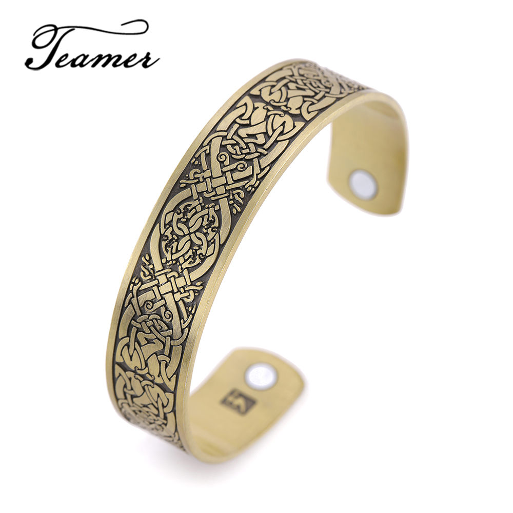 Teamer Celt Irish Knot Bangles Magnetic Power Hologram Bracelets Cuff Bangle for Women Men Vintage Jewelry for Health Caring bangle