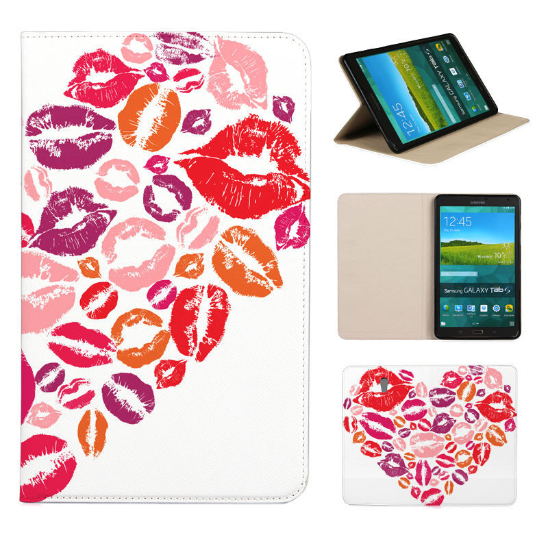 BTD Love heart Kiss lips printing flip leather case for SAMSUNG GALAXY Tab S T700 8.4 Cover stand sleeve phone bags