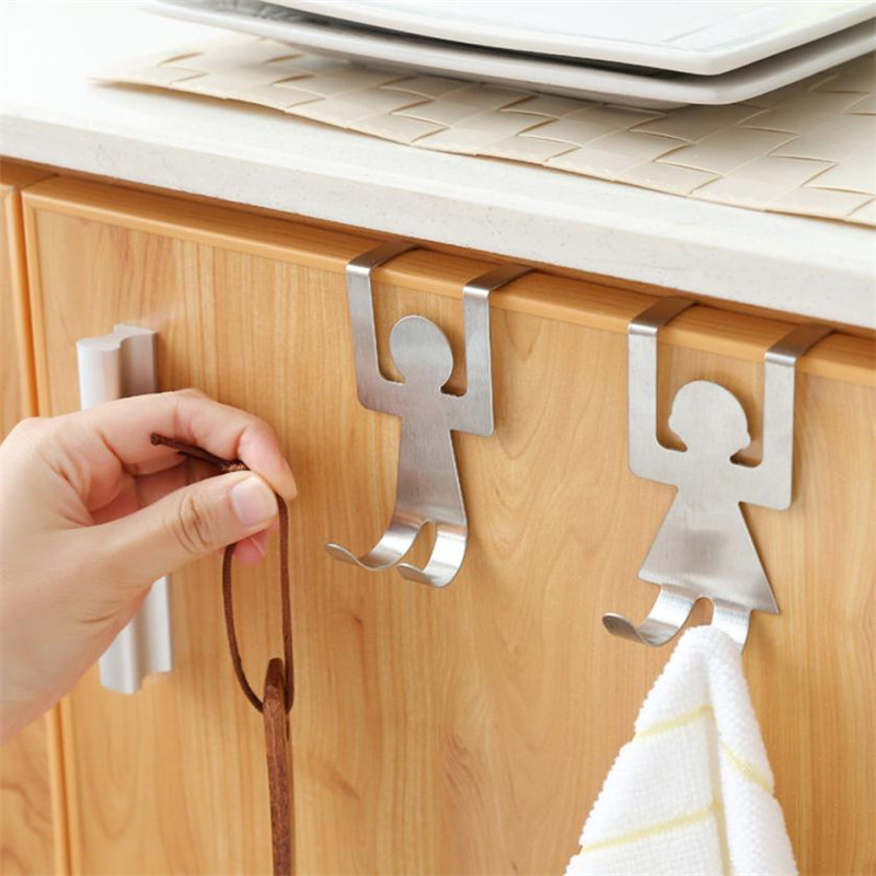 2pcs Stainless Steel Lovers Shaped Hooks Kitchen Cabinet Board Door Rack Hanger Closet Clothes Storage Rack Behind Door Racks