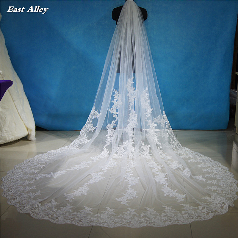 3M Long Lace Applique Wedding Veil 2.6M Wide Cathedral Bridal Veil Wedding Accessories Metal Comb