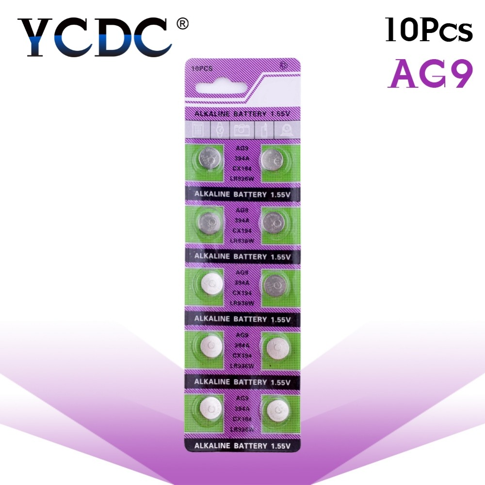 Cheap 49%off Sale 10PCS AG9 1.5V LR936 LR45 194 936 936a 394a 394 SR936SW LR936 Button Cell Batteries Watch battery 36 1 55v ag9 lr936 cell button batteries 10 piece pack