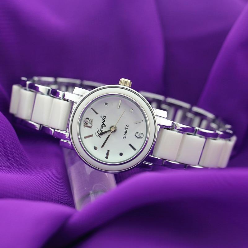 Promotionele prijs!, Kopieer keramische band brecelet stijl horloges, Kopieer keramische designcase met gold plating, quart uurwerk