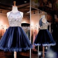 Glamous Short Prom Gown 2018 New Navy Blue Illusion Neckline Beaded Bodice Short Organza Homecoming Dress Tailor made