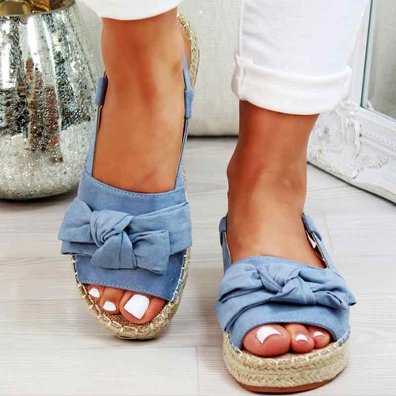 Laamei Hennep Womens Sandalen Platform Flats Sandalen Voor de Zomer Schoenen Vrouw Peep Boog Casual Schoenen Sandalias Mujer Voor Vrouwen 2019
