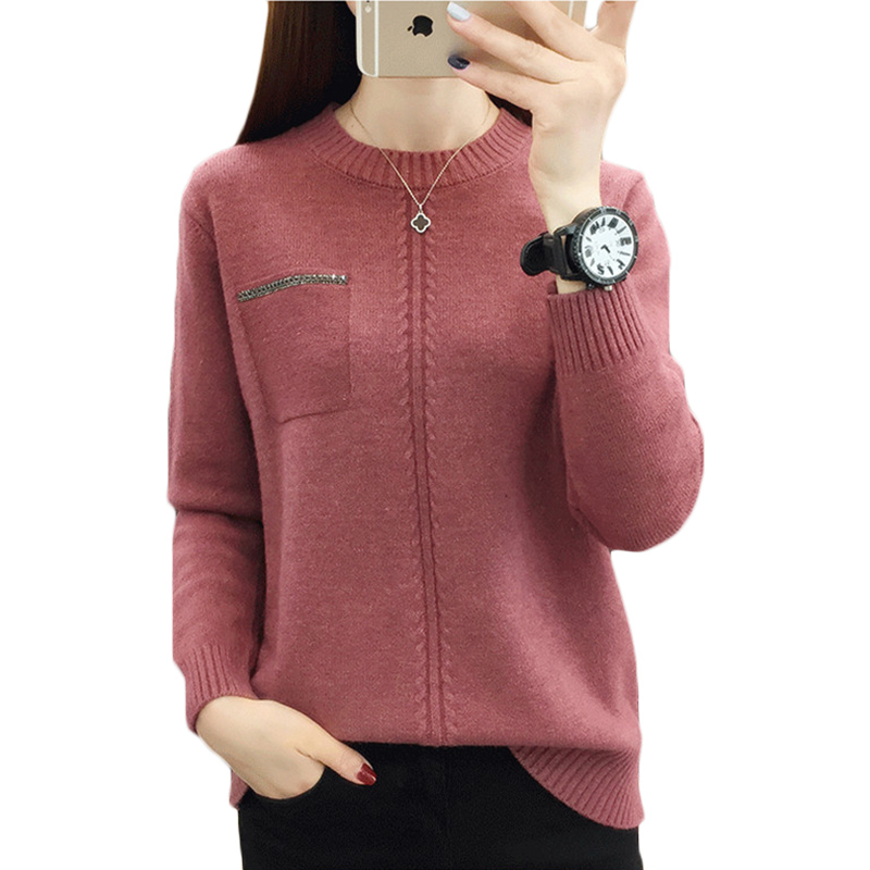 New Women Sweater Autumn Winter Warm knit Bottom shirt Female students Korean Long-sleeve Round neck Pullovers Sweaters Top F770(China)