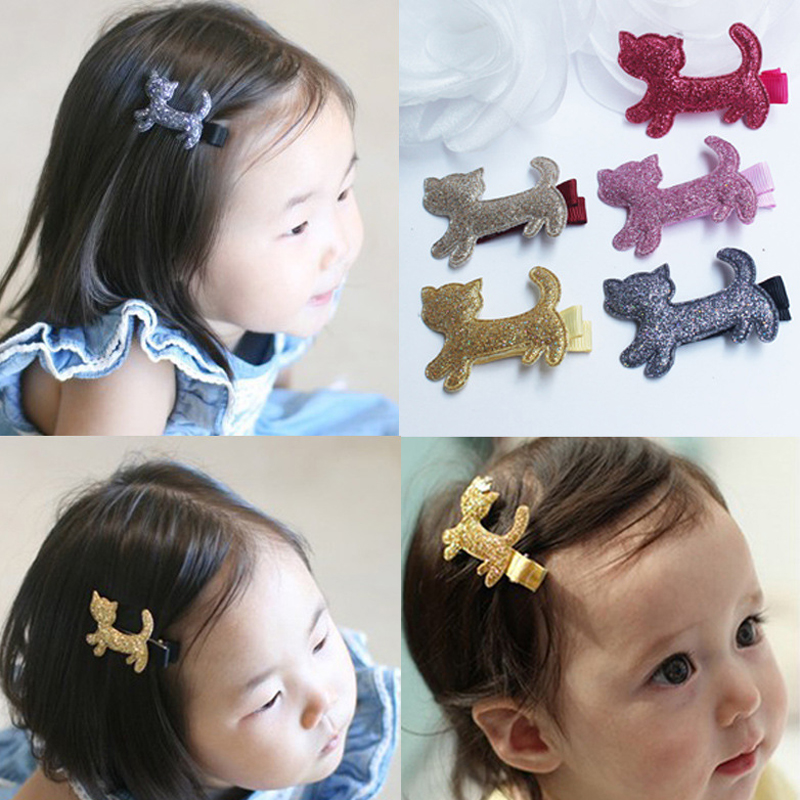 2pc Fashion Cute Cartoon Gerry kittens hair clips sparkling little cute headdress hair clips Baby Children