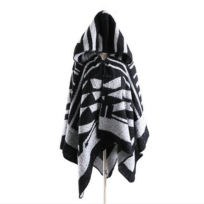 600g Heavy Women Hooded Poncho Brand Geometric Printed Pashmina Wrap Fashion Winter Warm Cape Blanket With Cap Hats YG529