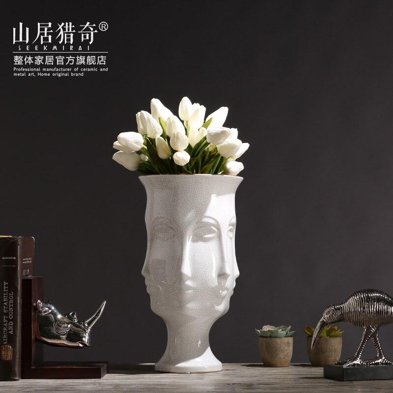 Белый скандинавский керамические творчества человеческое лицо ваза горшок домашнего декора ремесел украшения комнаты объект ваза для цве