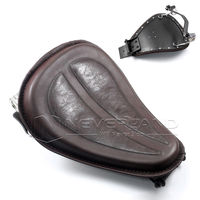 Brown PU Leather Solo Seat+Silver Torsion Spring+Bracket for Harley Sportster XL1200 XL883 48 2004 2014 D10