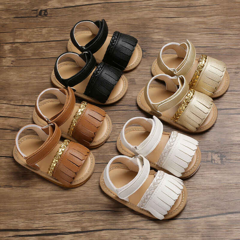 Baby Sandals Infant Baby Summer Sandals Solid Tassel Soft Sole Crib Shoes Newborn Prewalkers