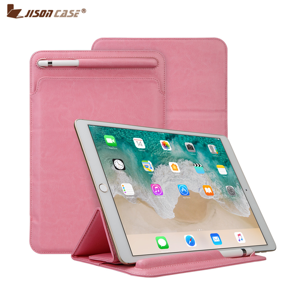 Improved Leather Sleeve Pouch for iPad Pro 10.5 2017 Case for iPad Pro 9.7 Sleeve Bag with Pencil Slot Holder Soft Folding Cover for ipad pro 12 9 inch case sleeve esr protective carrying bag with back pocket pencil holder pouch for ipad pro 12 9 2015 2017