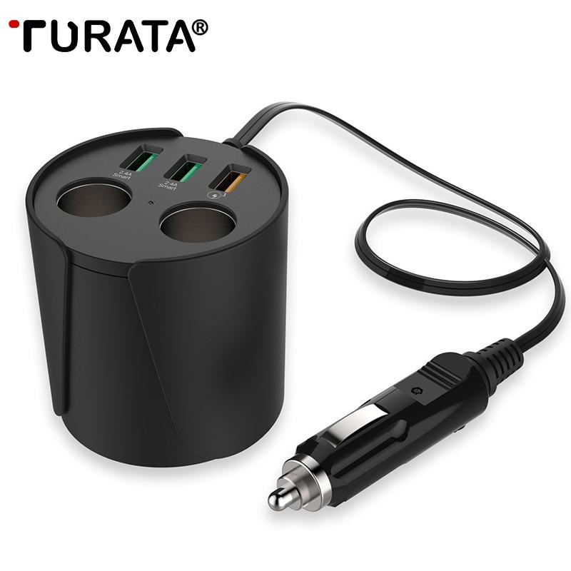imágenes para TURATA QC3.0 Carga Rápida Cargador de Coche 3-USB Puertos 2-Socket Encendedor de Cigarrillos 12 V/24 V DC Poder Portavasos adaptador