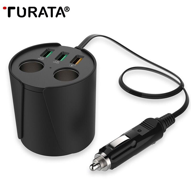Цена за Turata Quick Charge QC3.0 автомобиля Зарядное устройство 3-USB Порты 2-гнездо прикуривателя 12 В/24 В DC чашки Держатель Мощность адаптер