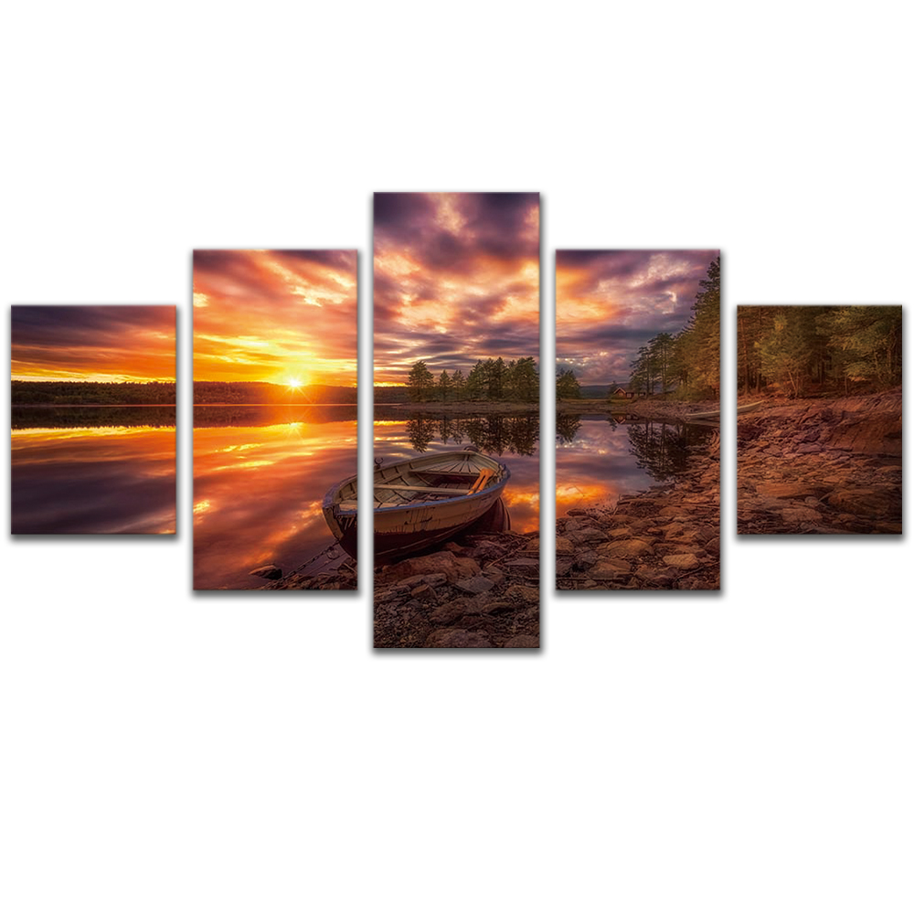 Unframed 5 HD Canvas Prints Sunset Lakeside Giclee Modular Picture Prints Wall Pictures For Living Room Wall Art Decoration