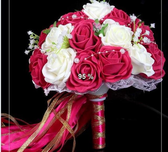 2017 dama de Honor Nupcial de La Boda Bouquet Barato Nueva Llegada Blanco y Fucsia Artificial Hecha A Mano de Flores de La Boda Ramos de Novia