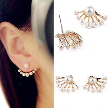 1 Pair Women Lovely Crystal Earrings Pearl Ear Stud Front and Back Earbob Special and fashion design #ZH 0.8(China)