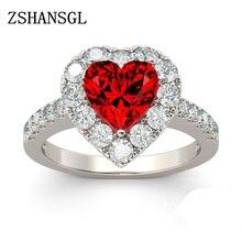 Красный цвет Циркон 925 пробы Серебряное кольцо романтичное любовное сердечко палец кольцо для женщин Свадебные ювелирные изделия bague