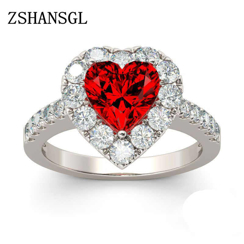 New Red Color Zircon 925 Sterling Silver Ring Love Heart Romantic Finger Ring for Women Wedding Jewelry bague