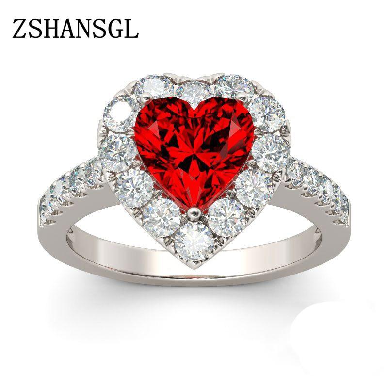 Nouvelle couleur rouge Zircon 925 bague en argent Sterling amour coeur romantique bague pour les femmes de mariage bijoux bague