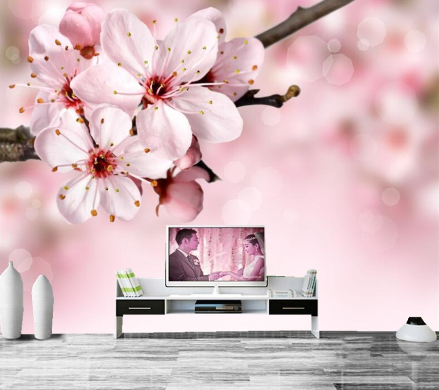 Closeup Flowering trees Sakura Flowers wallpapers, living room sofa TV wall bedroom 3d  murals wallpaper nature papel de parede large mural papel de parede european nostalgia abstract flower and bird wallpaper living room sofa tv wall bedroom 3d wallpaper