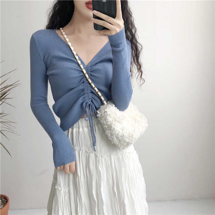 e8da5634a1aa Recommend Spring Autumn V Neck String Up Crop Top T Shirt Women Long Sleeve  Tee Shirt
