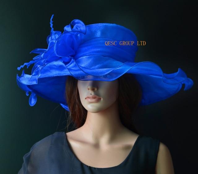 Royal blue X Large wide brim Crystal Organza Hat sinamay fascinator Church  Hat kentucky derby Hat wedding 5dde0e83e49