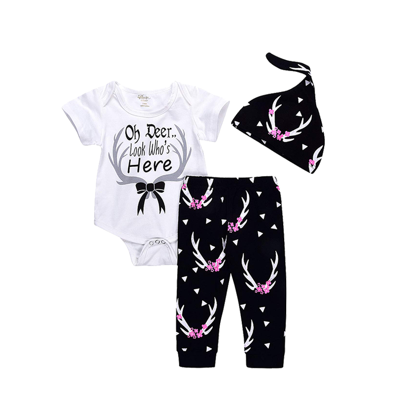 3Pcs Newborn Suit for Baby Shower Deer Print Long Sleeve Romper+Long Pants+Hat Outfits Clothes Set ship from USA