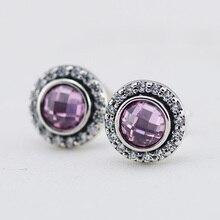 Plata de Ley 925 con Cristal de Color Rosa y Claro Cúbicos Zirconia Piedra Stud Pendientes para Las Mujeres Joyería Compatible Con Europeo