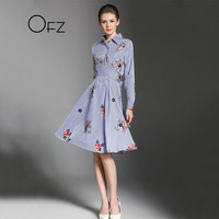2017 Autumn European Style Patchwork Embroidery Women Robe A Line Slim Female Dresses Long Sleeve Striped