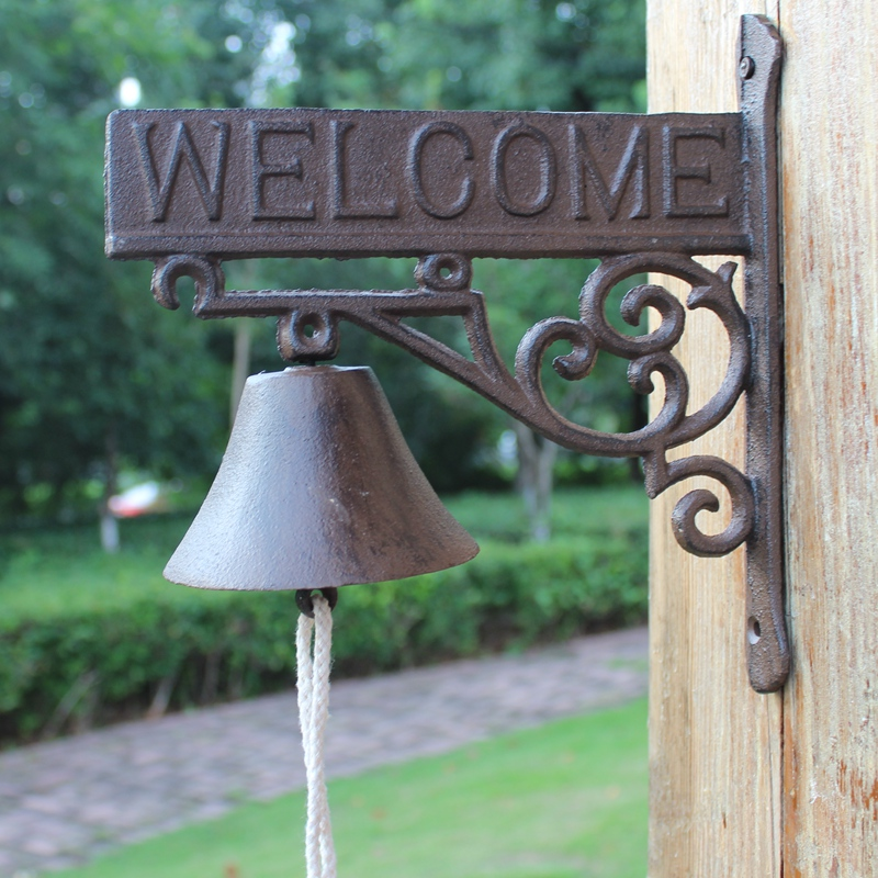 Cast Iron Welcome Dinner Bell Flower Wall Mounted Hanging Decorative Door Outdoor Garden Porch Patio Country Rural Decor
