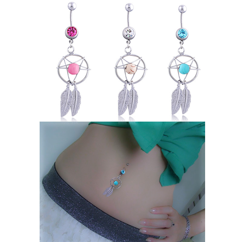 Crystal Turquoise Navel Rings Belly Button Bar Ring Dangle/'Body Piercing JewPTH