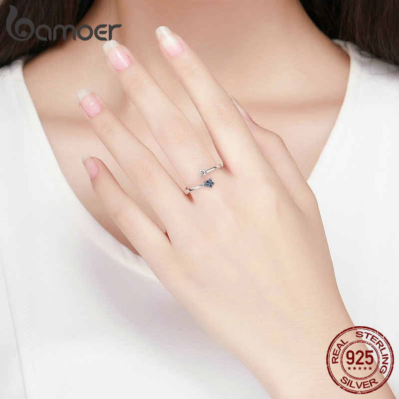 BAMOER Настоящее серебро 925 проба Сверкающие Голубые Лунные звезды прозрачные кольца на палец фианит для женщин Свадебные обручальные ювелирные изделия anel SCR437