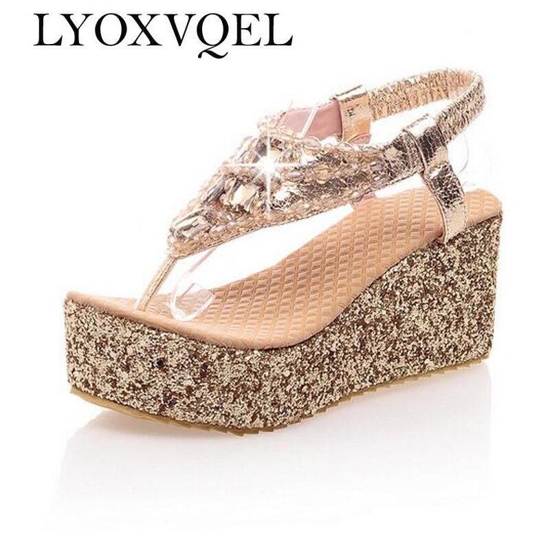 Для женщин на высоком каблуке и платформе Сандалии для девочек со стразами летние Сандалии для девочек для Дамская Мода Прохладный цвета: золотистый, серебристый C248