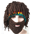 2016 New Funny Party Handmade Knitted Unisex Winter Crochet Mustache Hat Beard Beanies Face Tassel Mask Warm Cool Gift Cap