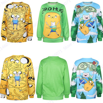 Funny Finn And Jake Sweatshirts Jumper Pullover Women Kawaii Adventure Time Hoodies Autumn Loose Trainning & Exercise Sweaters jung kook bts persona