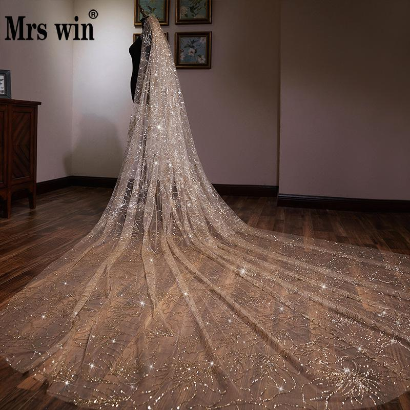 Wedding Accessories 2020 New Arrival Mrs Win The Champagne Chapel Veil Bling Bling Bridal Veils Beading Wedding Veil F