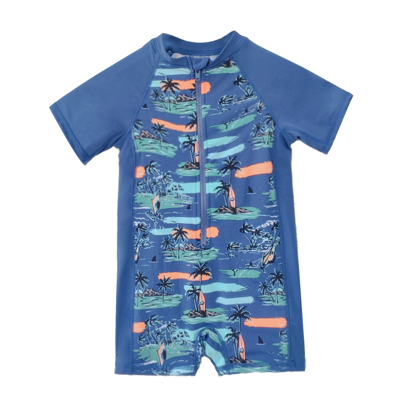 Boy's One-piece Bathing Suit Printed For Baby Boy's Beach Swimming