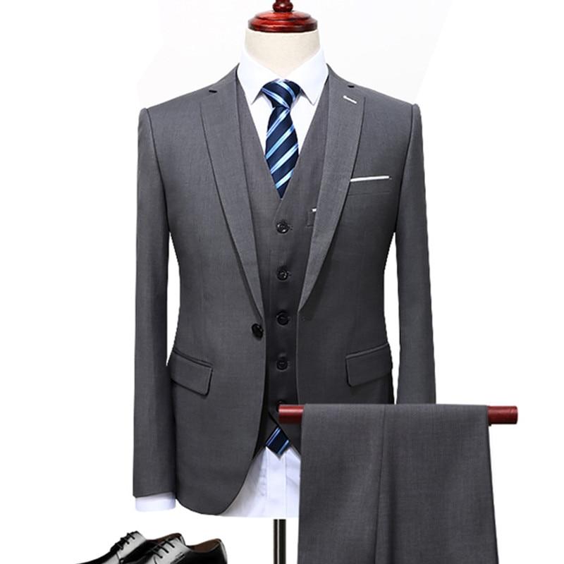 Herren Business Casual Anzüge Sets/männlichen Drei-stück Anzug Weste + Blazer + Hosen Jacke Mantel Hosen Weste/größe S-5xl Letzter Stil