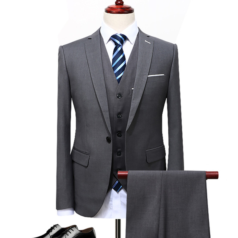 men's business casual suits sets / male three piece suit vest+Blazers+pants jacket coat trousers waistcoat / size S 5XL-in Suits from Men's Clothing    1