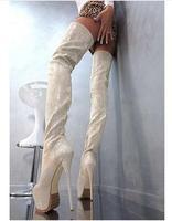 2017 Для женщин Зимняя пикантная обувь на платформе 16 см высокий каблук Сапоги и ботинки для девочек Ботфорты до середины бедра черного цвета