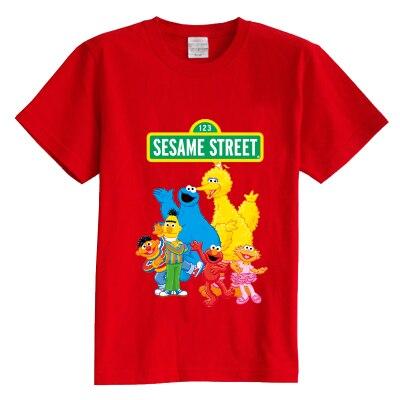 Детская футболка лето с коротким рукавом Улица Сезам мультфильм 100% хлопок мальчик девочка малыш футболка