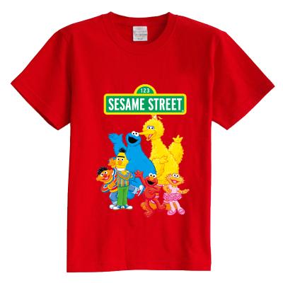 Crianças T shirt do verão de manga curta t camisa dos desenhos animados Sesame Street 100% algodão do menino da menina do miúdo