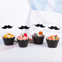 Wedding Party 12 pcs Toppers + 12 pcs Wrappers Birthday Black Mustache Cupcake Baking Baby Shower Cake Decoration Supplies 24pcs