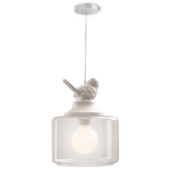 GZMJ Vintage Loft LED Pendant Light Lamp Bird Glass Lampshade Industrial Hanging Lamp Home Lighting Living Room Light Fixtures