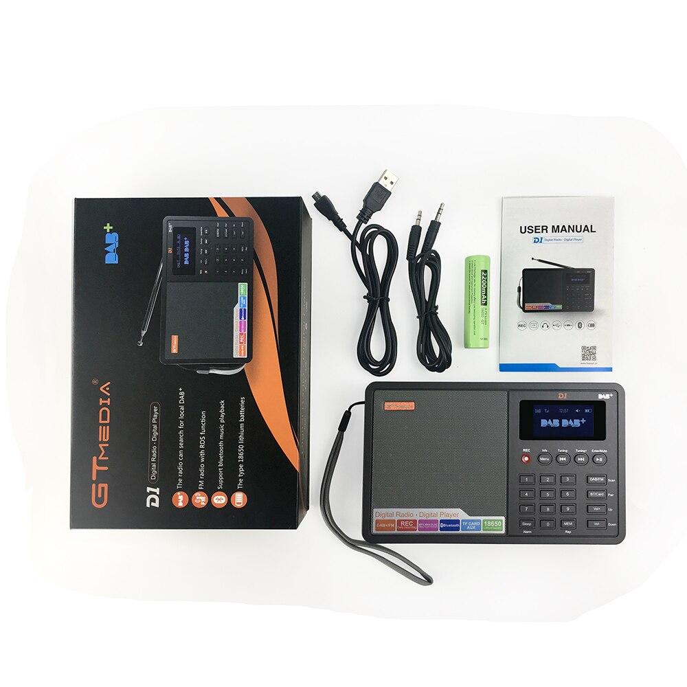 Portable Professional Radio Gtmedia D1 Dab Radio Radio Stero Unterstützung Schlaf Für Uk Eu Mit Bluetooth Eingebauten Lautsprecher