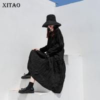 [XITAO] Winter 2018 Korea Fashion New Women V neck Full Sleeve Loose Dress Female Solid Color Mid calf Tassel Dress LYH2128
