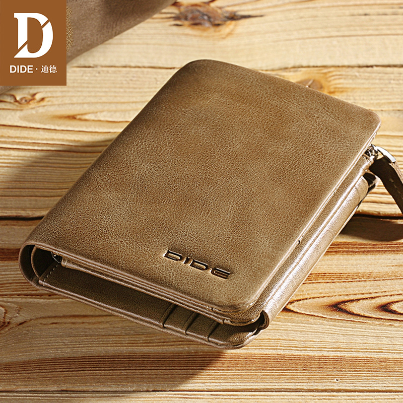 DIDE 100%Genuine-Leather Wallets Male Vintage Card-Holder Coin-Purse Tri-Fold Zipper