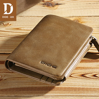 DIDE New 100% genuine leather wallets for men purse Vintage Small Wallet Male Card Holder Tri fold Zipper Coin Purse DQ595